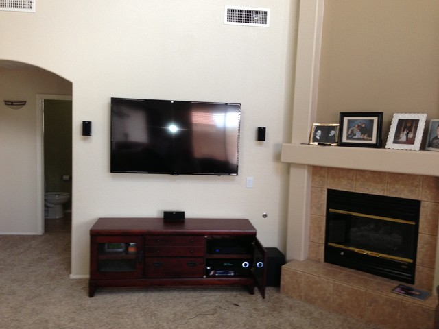 5 1 Surround Sound With Tv Mount And Wire Concealment American Traditional Living Room