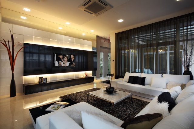 Tv Wall Design Ideas transitional family room idea in miami with beige walls medium tone hardwood floors and a Saveemail