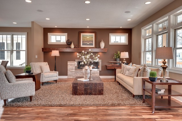 Inspiration For A Transitional Living Room Remodel In Minneapolis With  Brown Walls Nice Ideas