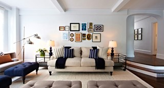 Navy Blue Grey Cream Room Living Room Ideas & Photos | Houzz