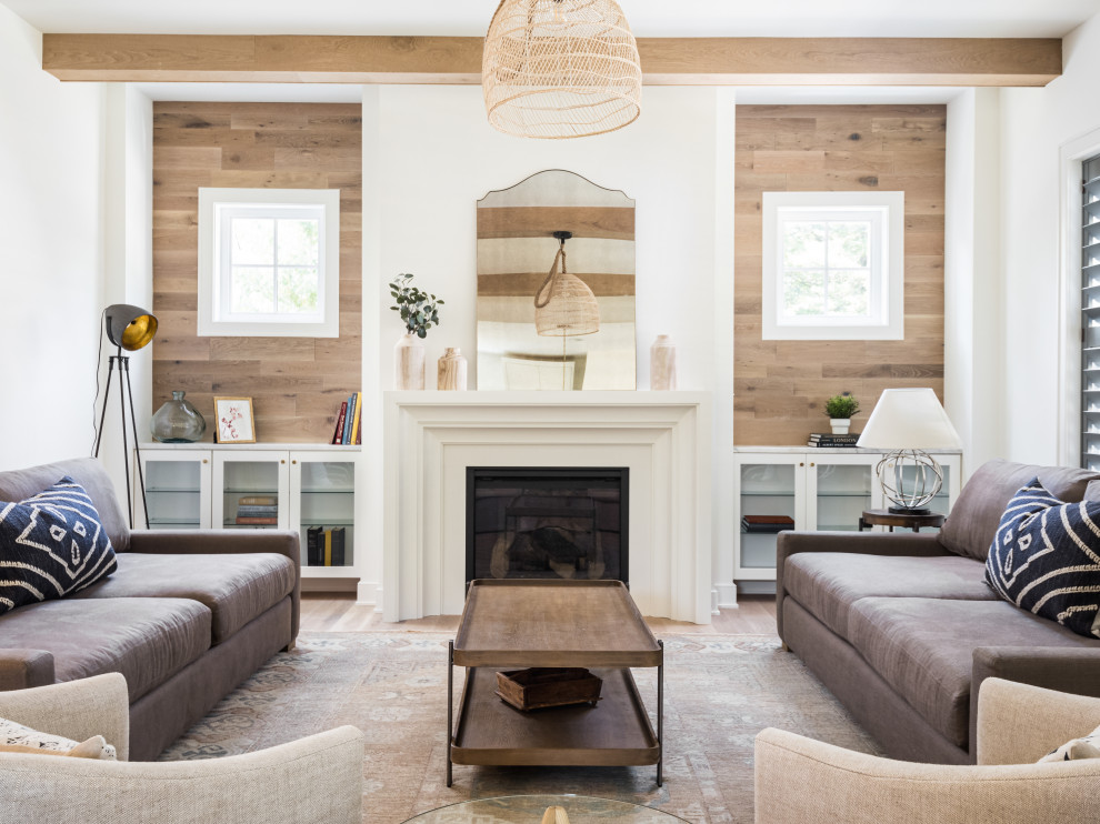 Inspiration for a coastal brown floor living room remodel in DC Metro with no tv