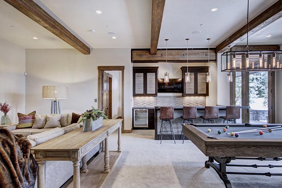 Living room - rustic living room idea in Denver