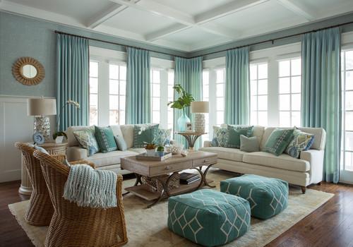 爽やかなブルーとホワイトを使った爽やかインテリ。籐編みのチェアがあたたかい雰囲気をかもし出していますね。
