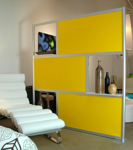 6 Modern Privacy Screen Yellow Panels With Shelves Living Room