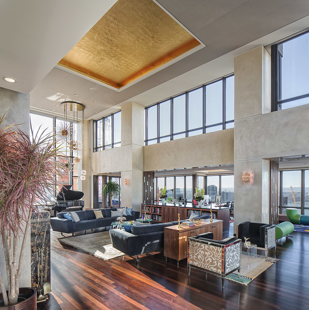 61st street penthouse contemporary living room new for Modern living room high ceiling