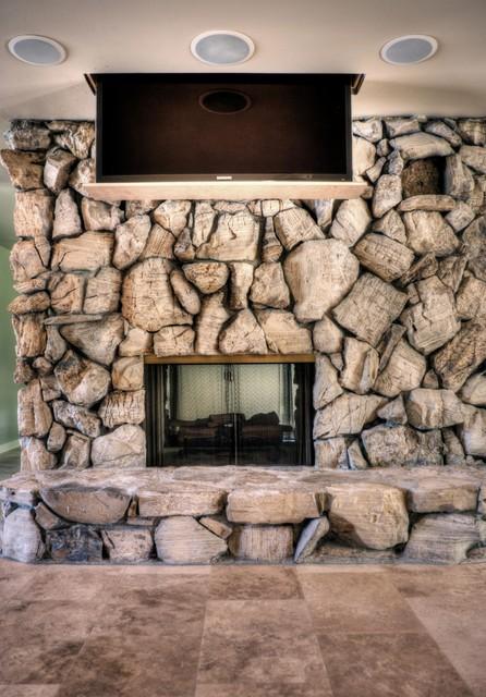 "65"" TV Drop Down in Livingroom midcentury-living-room"