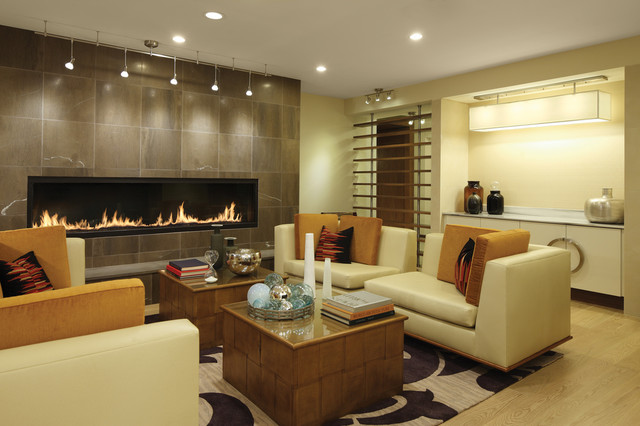 7u0027 Custom Gas Fireplace Contemporary Living Room
