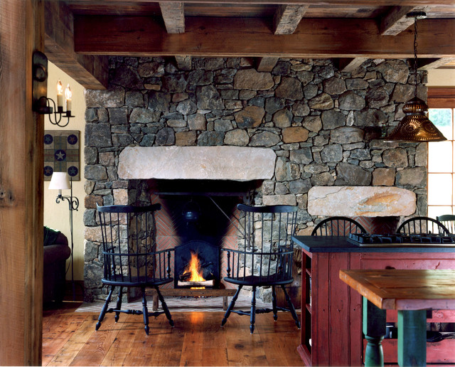 old stone fireplace. Living room  farmhouse living idea in Philadelphia with a standard fireplace and stone Old Stone Fireplace Houzz