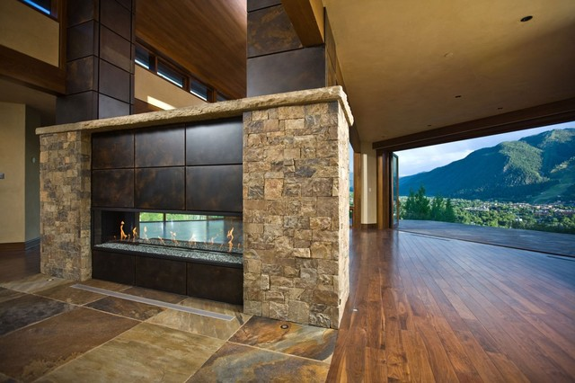 8 39 custom see through fireplace contemporary living for Through fireplace