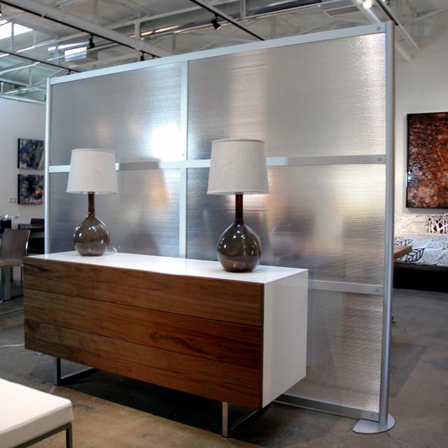 8' Modern Room Divider, Translucent Panels