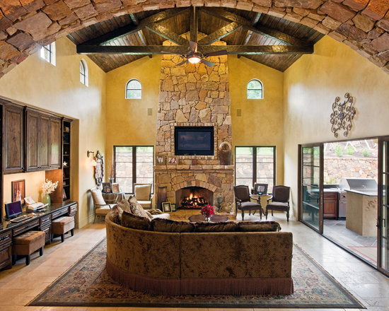 Stone fireplace arch home design ideas pictures remodel for Mediterranean fireplace designs
