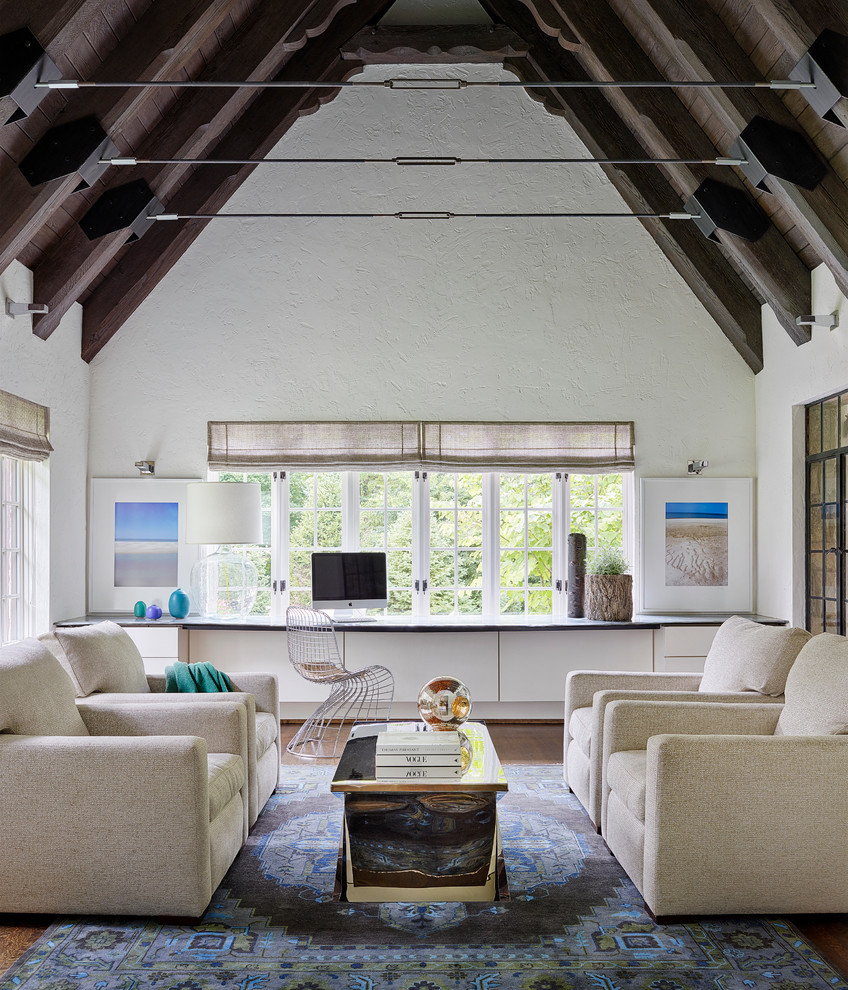 Inspiration for a country living room in Chicago with white walls, dark hardwood flooring and feature lighting.