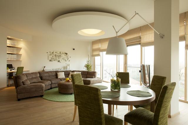 990 square foot condominium in vilnius lithuania for Square living room design ideas
