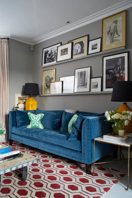 A colourful London home transitional-living-room