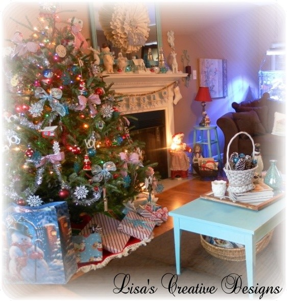 A Cozy Cottage Christmas Traditional Living Room