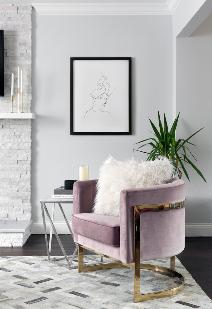 Small transitional dark wood floor and gray floor living room photo in New York with gray walls