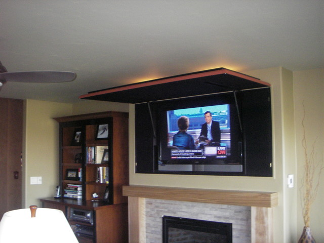 Hiding Tv In Living Room A Hidden Television Media Solution Eclectic Living  .