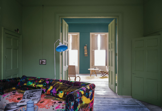 A Living Room Painted In Yeabridge Green No By Farrow Ball