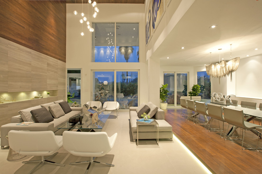 Inspiration for a contemporary living room remodel in Miami with no fireplace and no tv