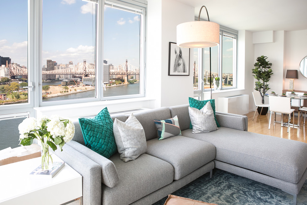 A Modern Nyc Apartment Makeover Modern In Long Island City Transitional Living Room New York By Get Decorated