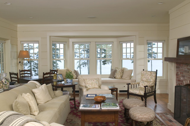 A new Maine u0026quot;cottageu0026quot; - Traditional - Living Room - Boston ...
