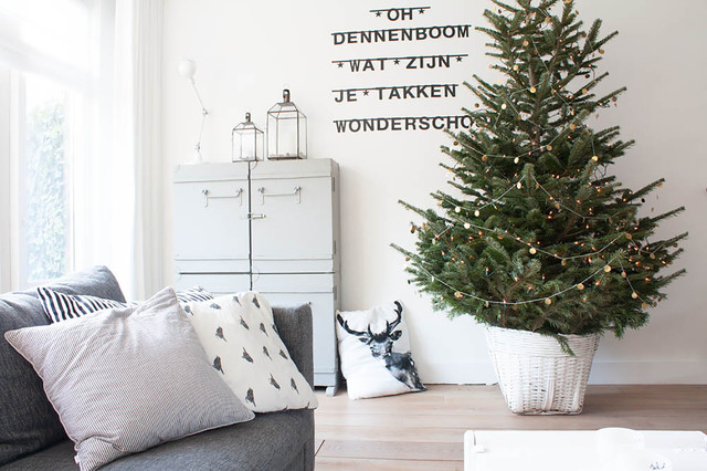 Example of a danish living room design in Amsterdam with white walls