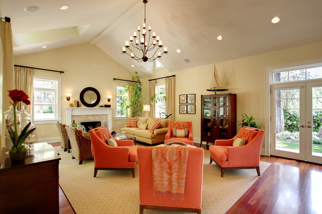 Good A Pop Of Orange Traditional Living Room Part 24