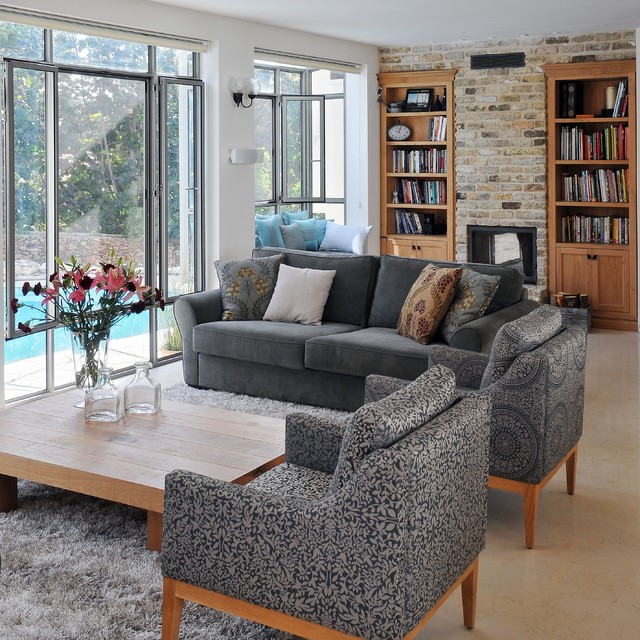A Renovated Country House Contemporary Living Room