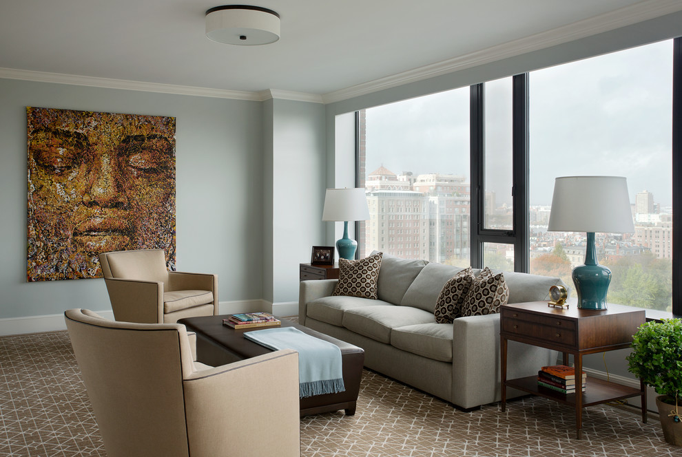 Example of a small classic enclosed carpeted living room design in Boston with gray walls