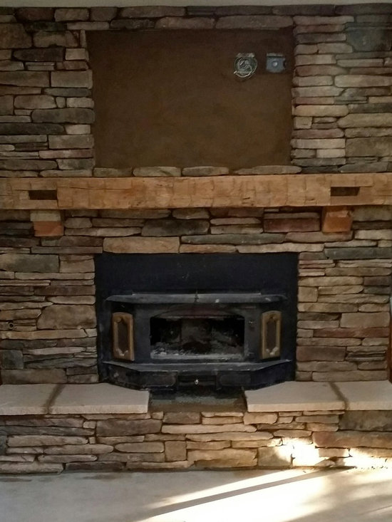 A Rustic Hand Hewn Mantel - Hand Hewn mantle in white oak with pockets from original building process late 1700s to early 1800s. Beam origin from Pennsylvania.