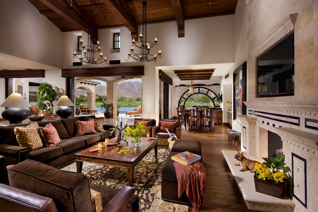 A Spanish Revival Colonial Mediterranean Living Room