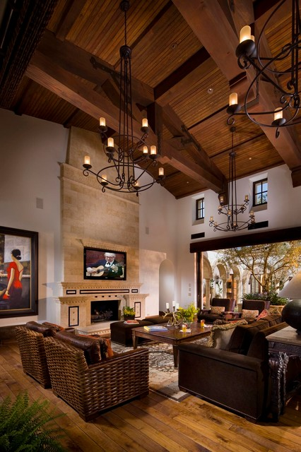 a spanish revival spanish colonial mediterranean living room orange county by south