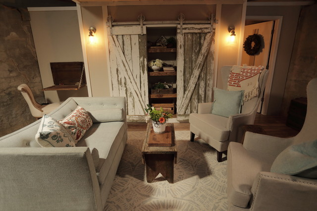 Inspiration for a small country open concept light wood floor living room remodel in Other