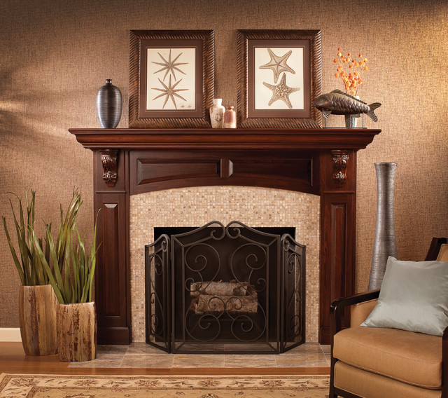 "This stunning fireplace mantel from Dura Supreme Cabinetry features carved corbels below the mantel shelf. When ""Classic"" Styling is selected"
