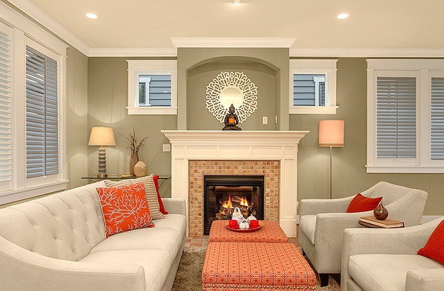 A tranquil queen townhouse transitional living room for Tranquil living room