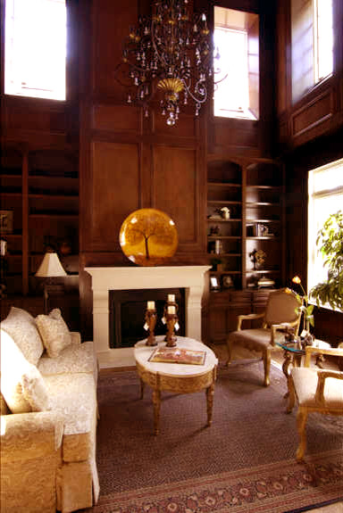 A Two-Story Study with Mahogany Paneling traditional living room
