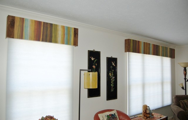 A Unique Idea  Window Valances Made With Art Contemporary Living Room