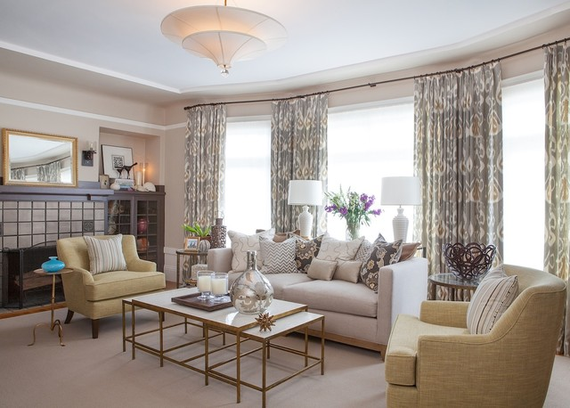 a warm light  sophisticated living room  traditional