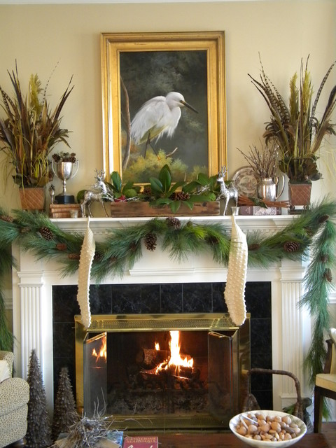 A Woodland Mantel  (http://threepixielane.blogspot.com) traditional-living-room