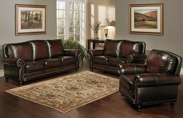 Abbyson Living Palermo Wood Trim Sofa Contemporary Room