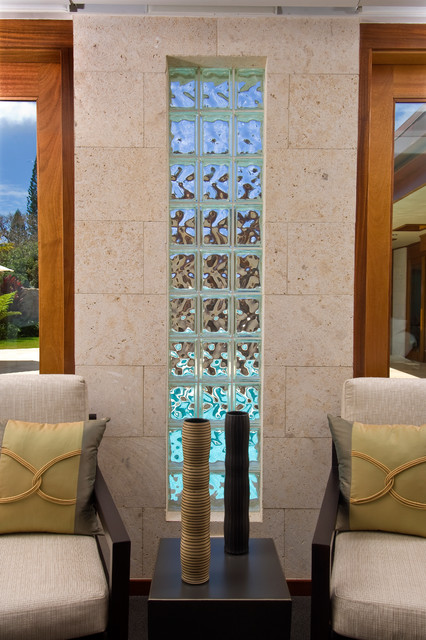 Abe residence contemporary living room hawaii by - Glass block windows in living room ...