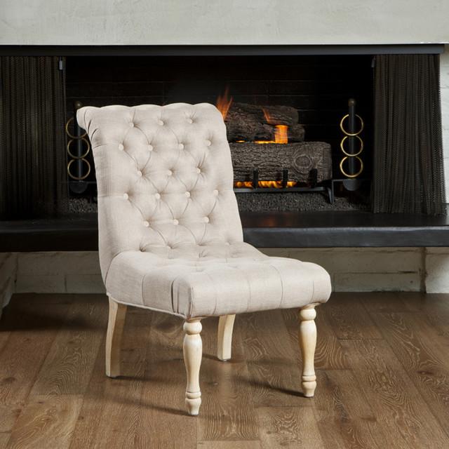Aberdeen Tufted Beige Linen Dining Chair