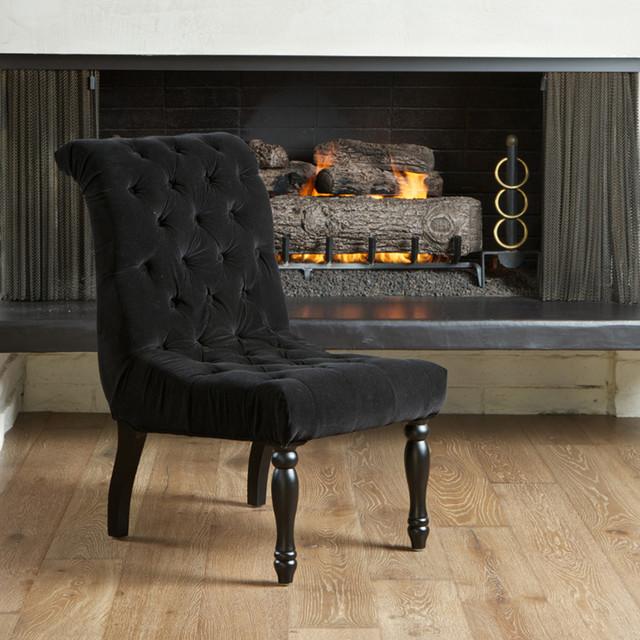 Aberdeen Tufted Black Velvet Dining Chair Modern Living Room