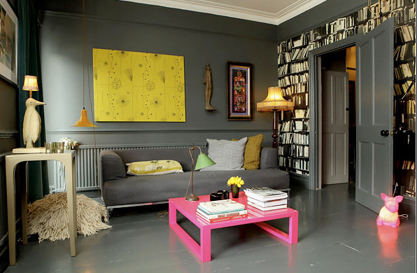 Example of an eclectic living room design in London