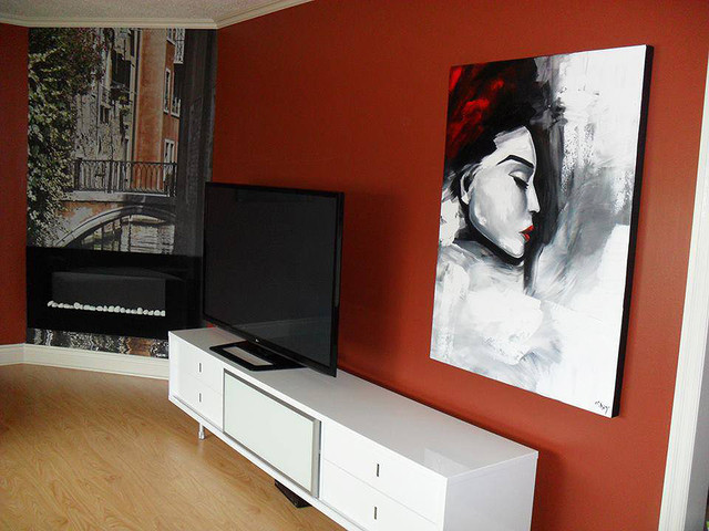 Abstract Figure Paintings Contemporary Living Room New York By Osnat Fine Art