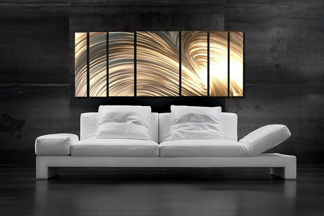 Abstract metal art modern living room salt lake city for Contemporary wall art for living room