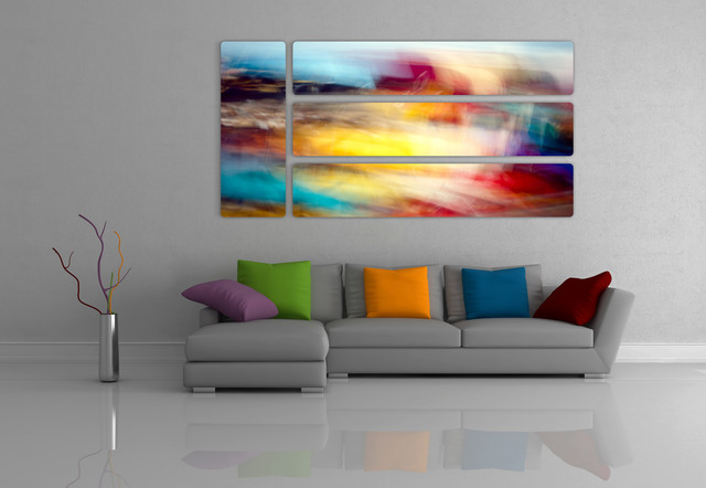 Abstract Prints On Aluminum Contemporary Living Room By Alexei Rebrov Art