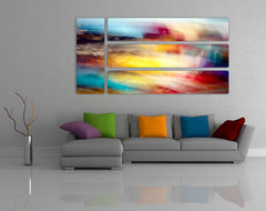Abstract Prints on Aluminum contemporary living room