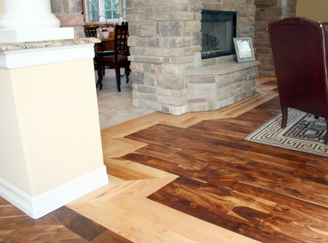 Acacia hickory residence traditional living room for Hardwood floor dealers
