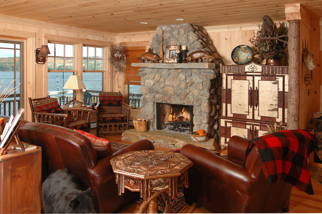 Adirondack Camp Traditional Living Room Boston By
